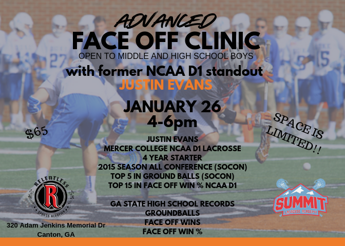 Justin Evans Face Off Clinic Flyer