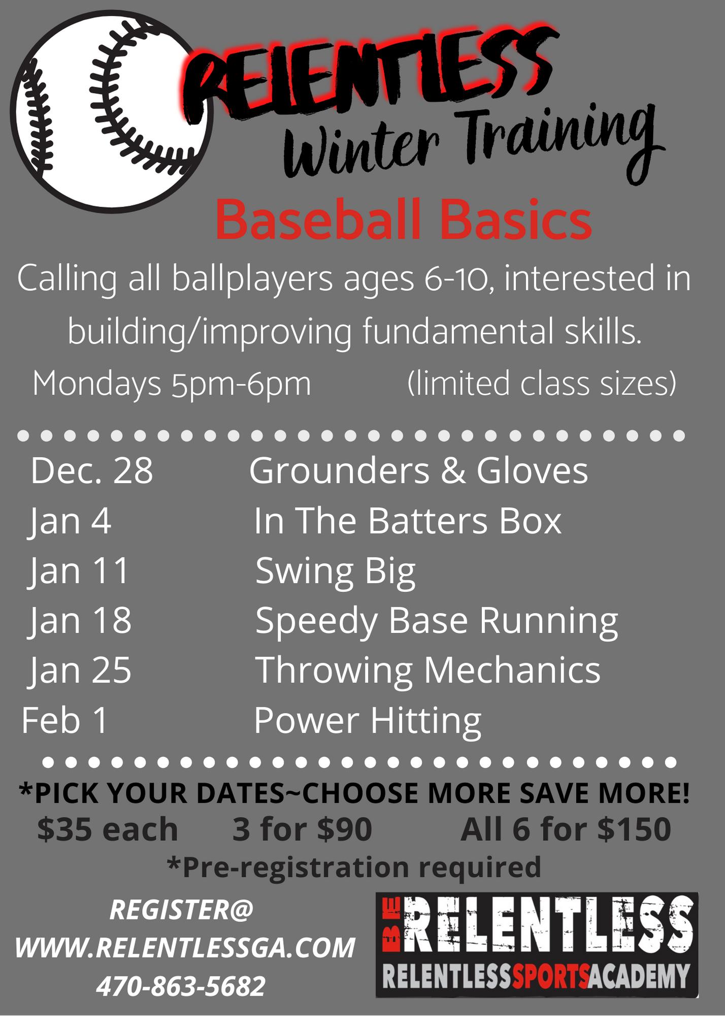 Baseball basics and swing clinic